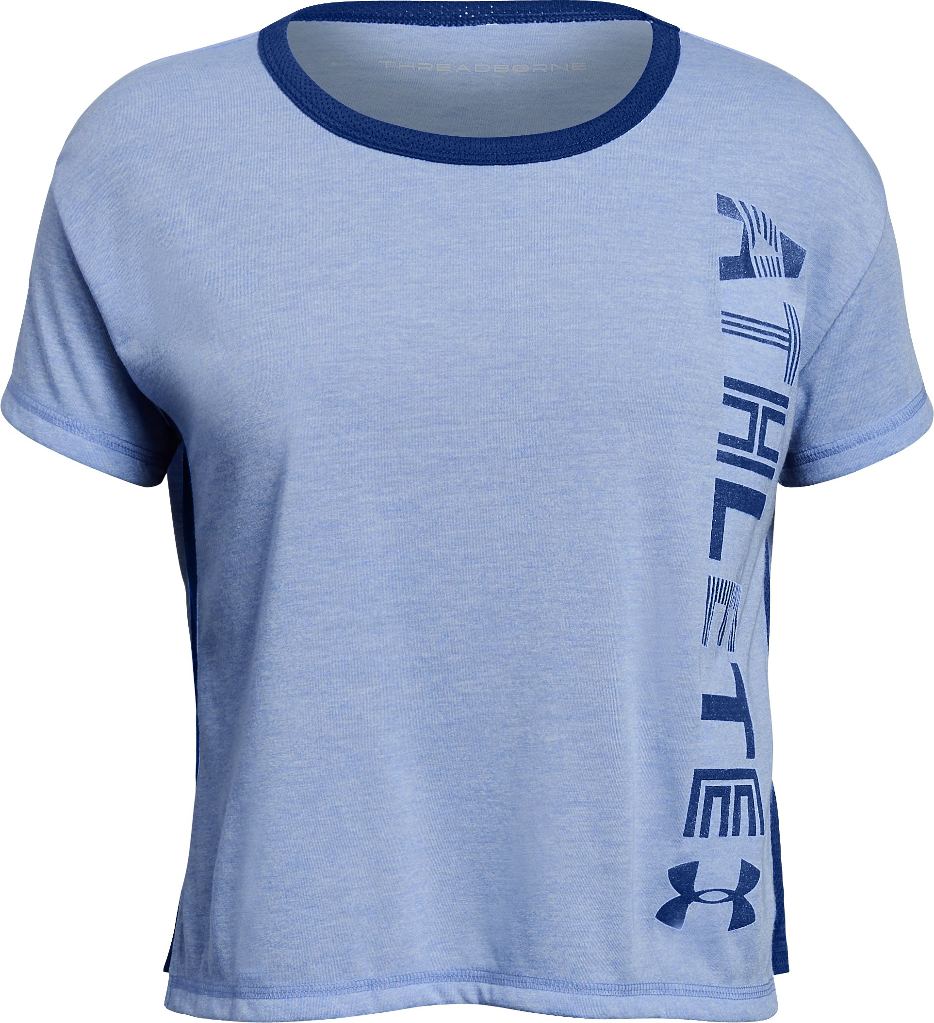 Girls' UA Athlete T-Shirt, TALC BLUE FADE HEATHER,