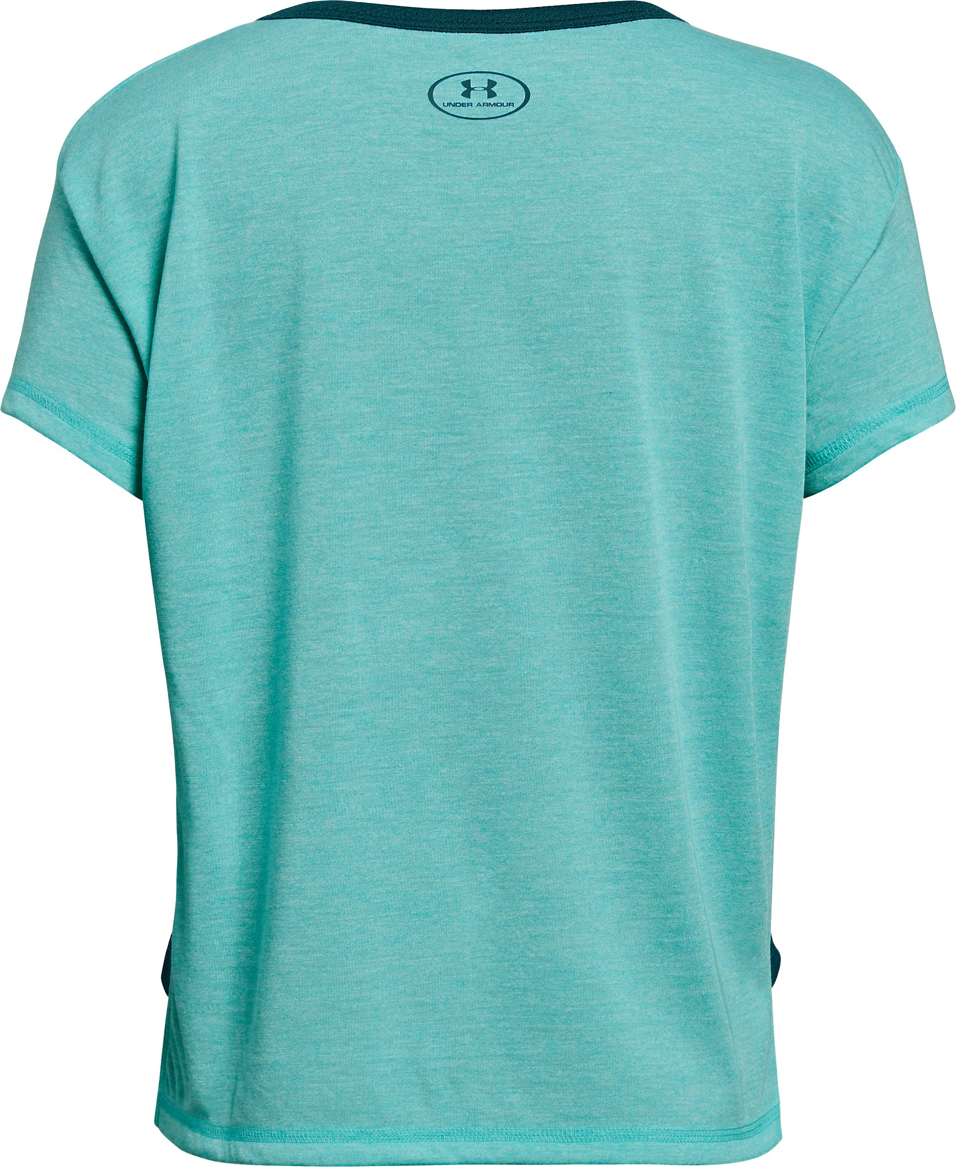 Girls' UA Athlete T-Shirt, TEAL PUNCH FADE HEATHER,