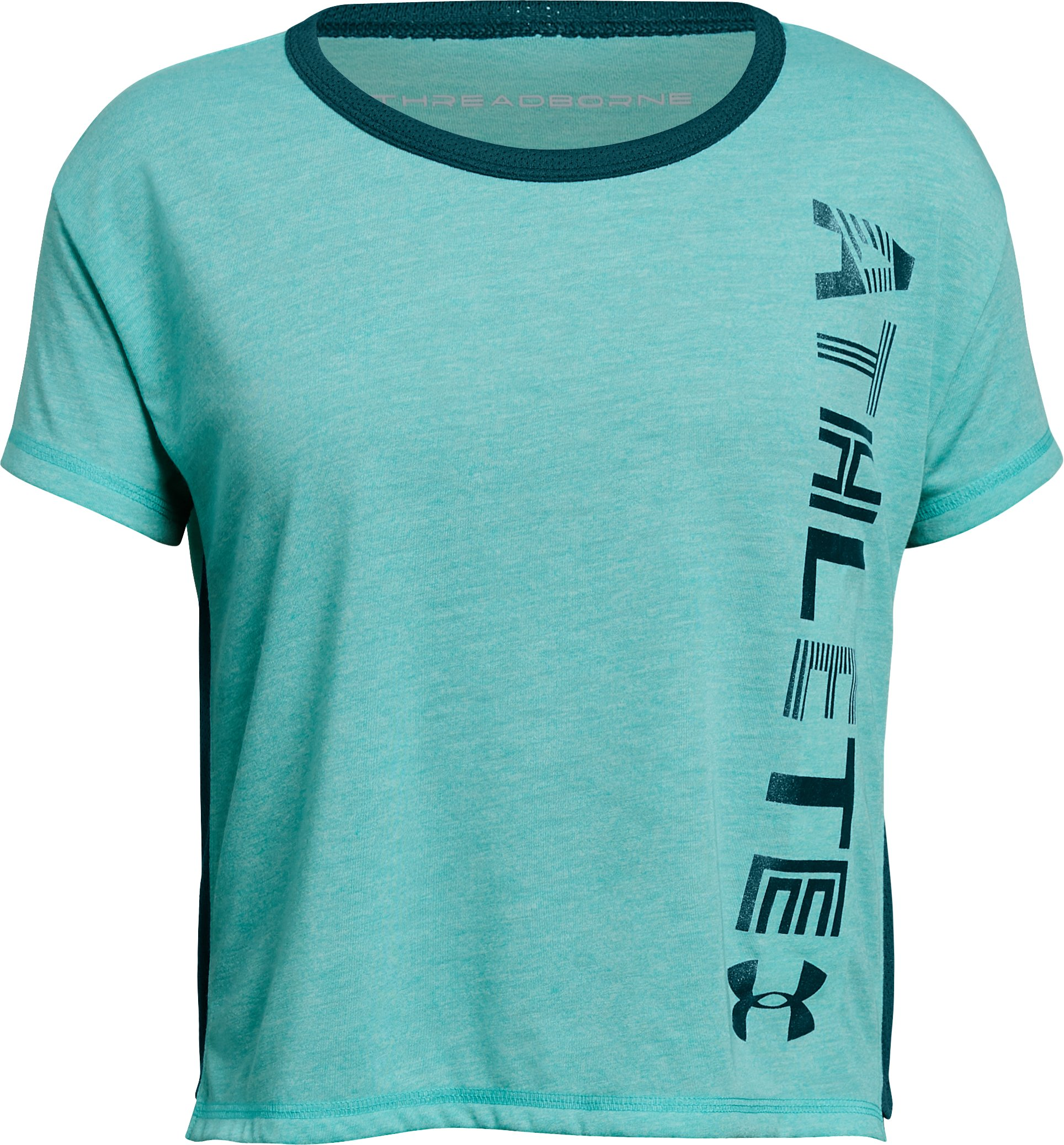 Girls' UA Athlete T-Shirt, TEAL PUNCH FADE HEATHER