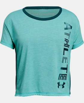 Girls' UA Athlete T-Shirt FREE U.S. SHIPPING 2  Colors Available $28