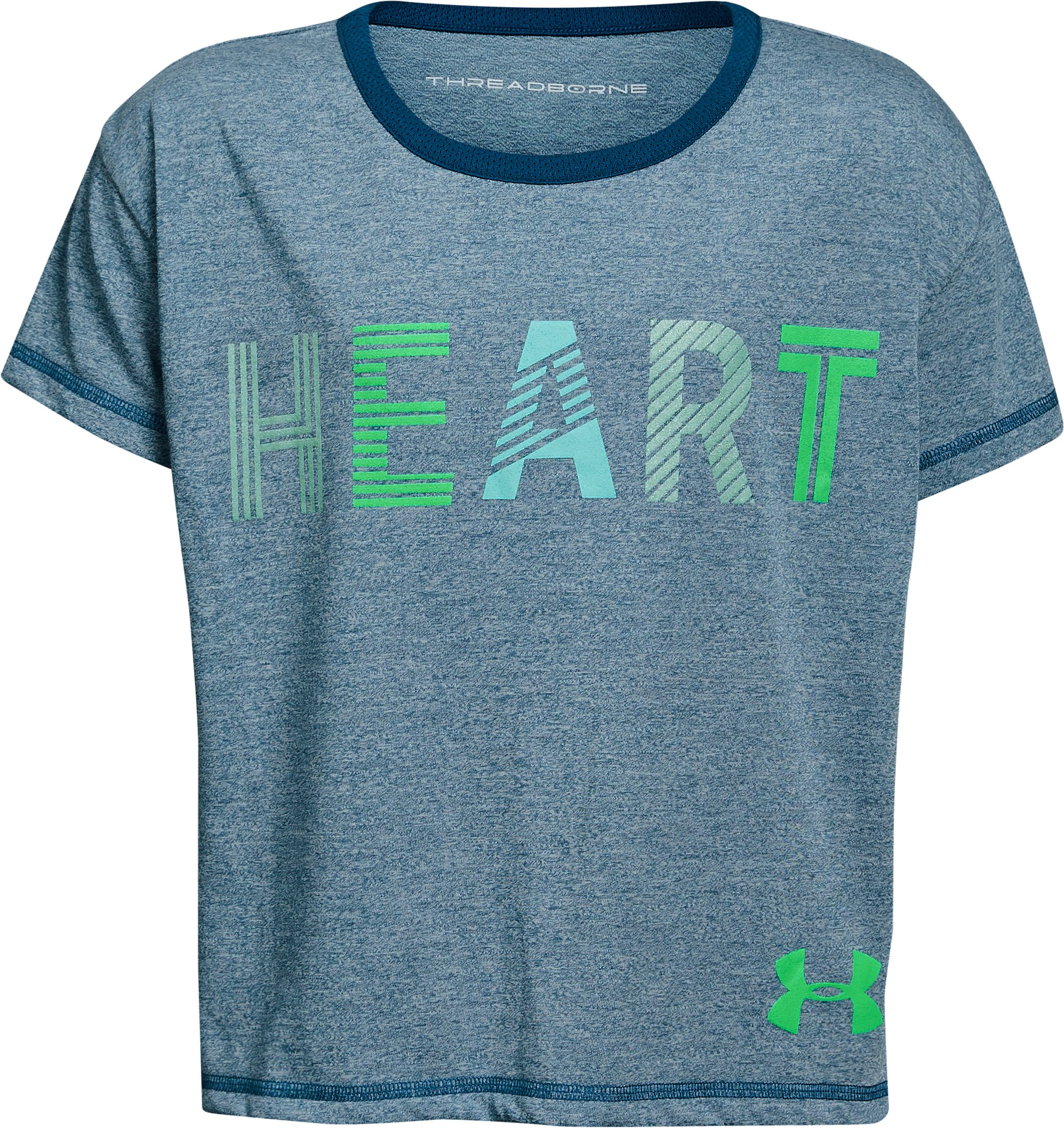 Girls' UA Heart T-Shirt, MOROCCAN BLUE FADE HEATHER,