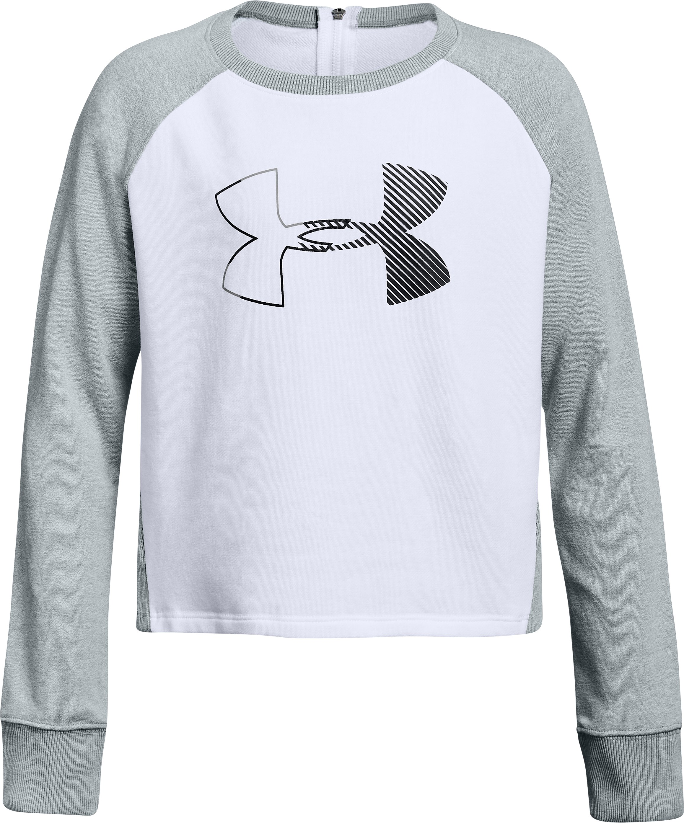 Girls' UA Microthread Terry Crew, White, undefined