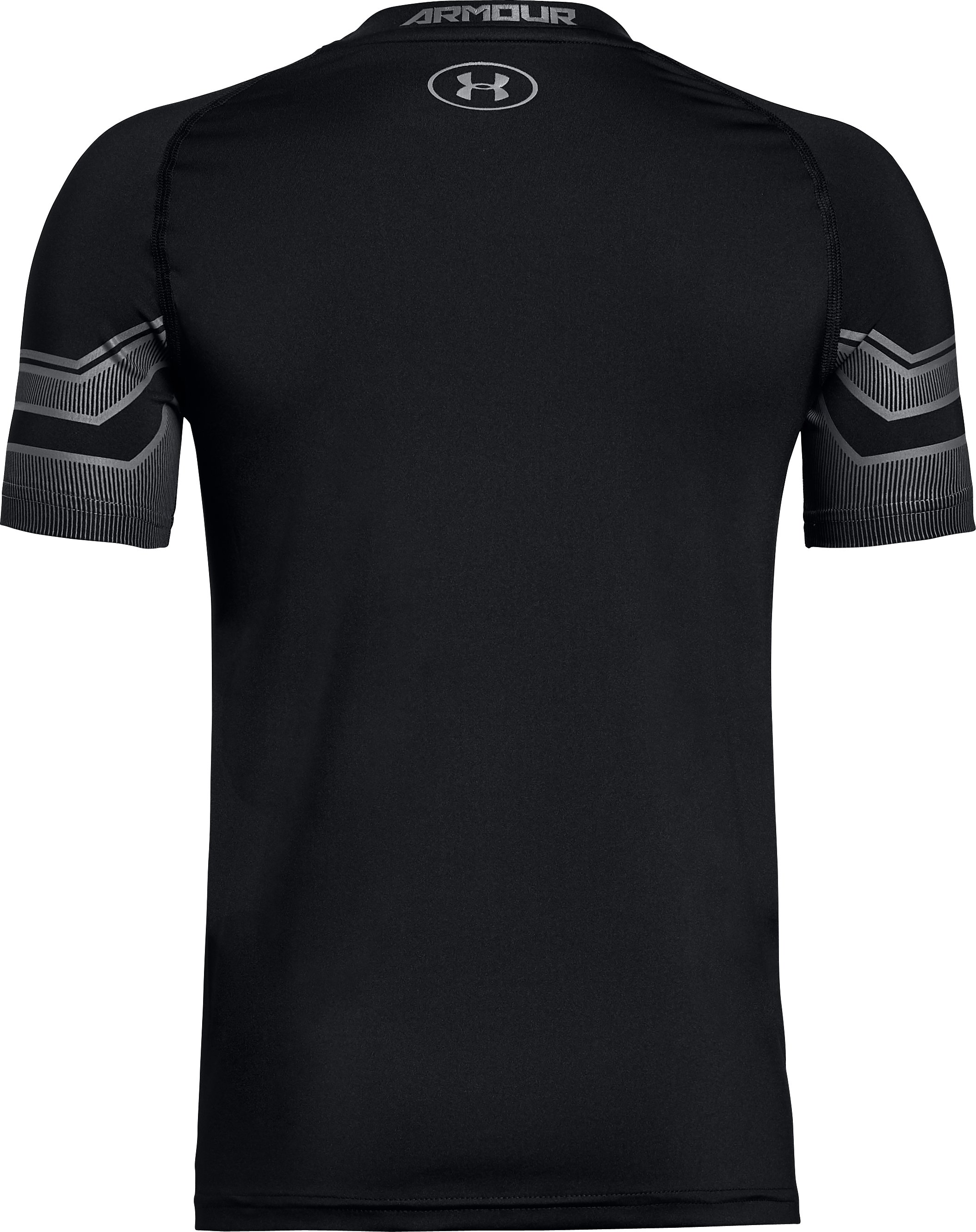 Boys' HeatGear® Armour Graphic Short Sleeve, Black , undefined