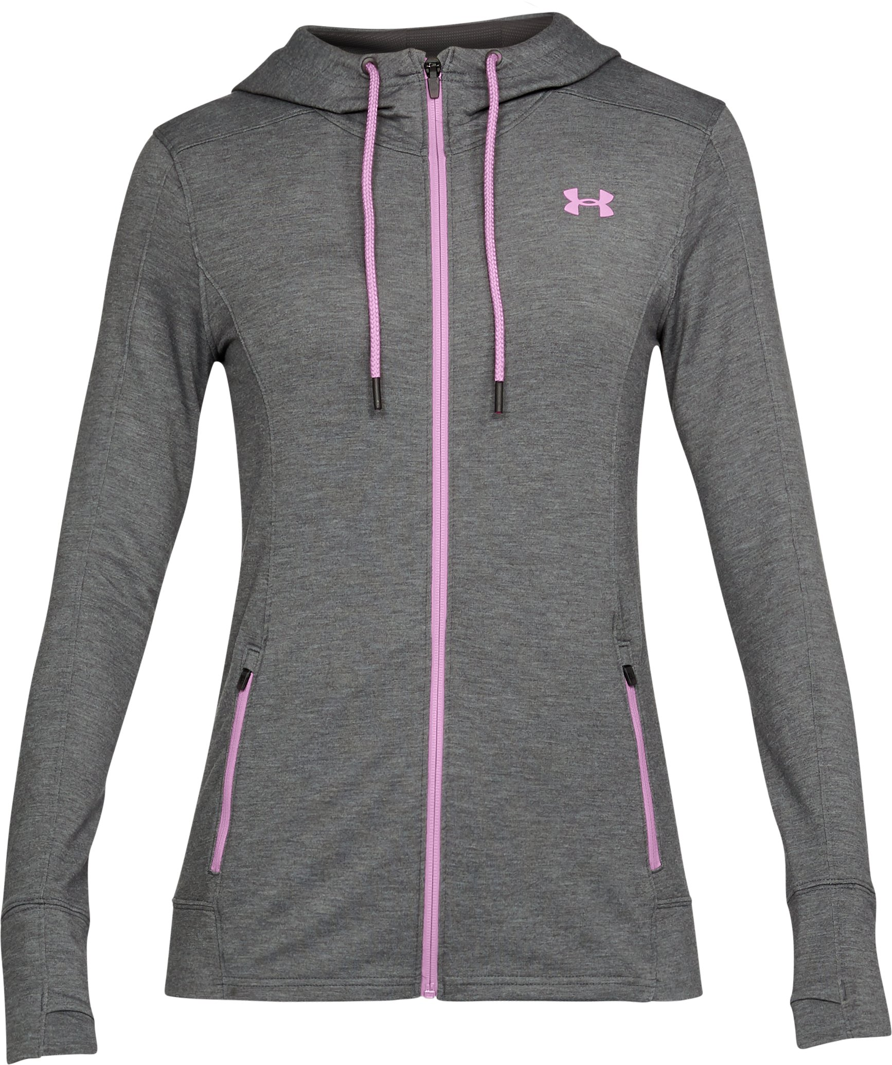 Women's UA Featherweight Fleece Full Zip Hoodie, Carbon Heather, undefined