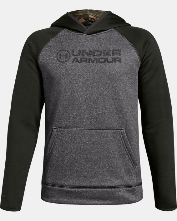 Boys' UA Storm Armour Fleece® Stacked Hoodie, Gray, pdpMainDesktop image number 0