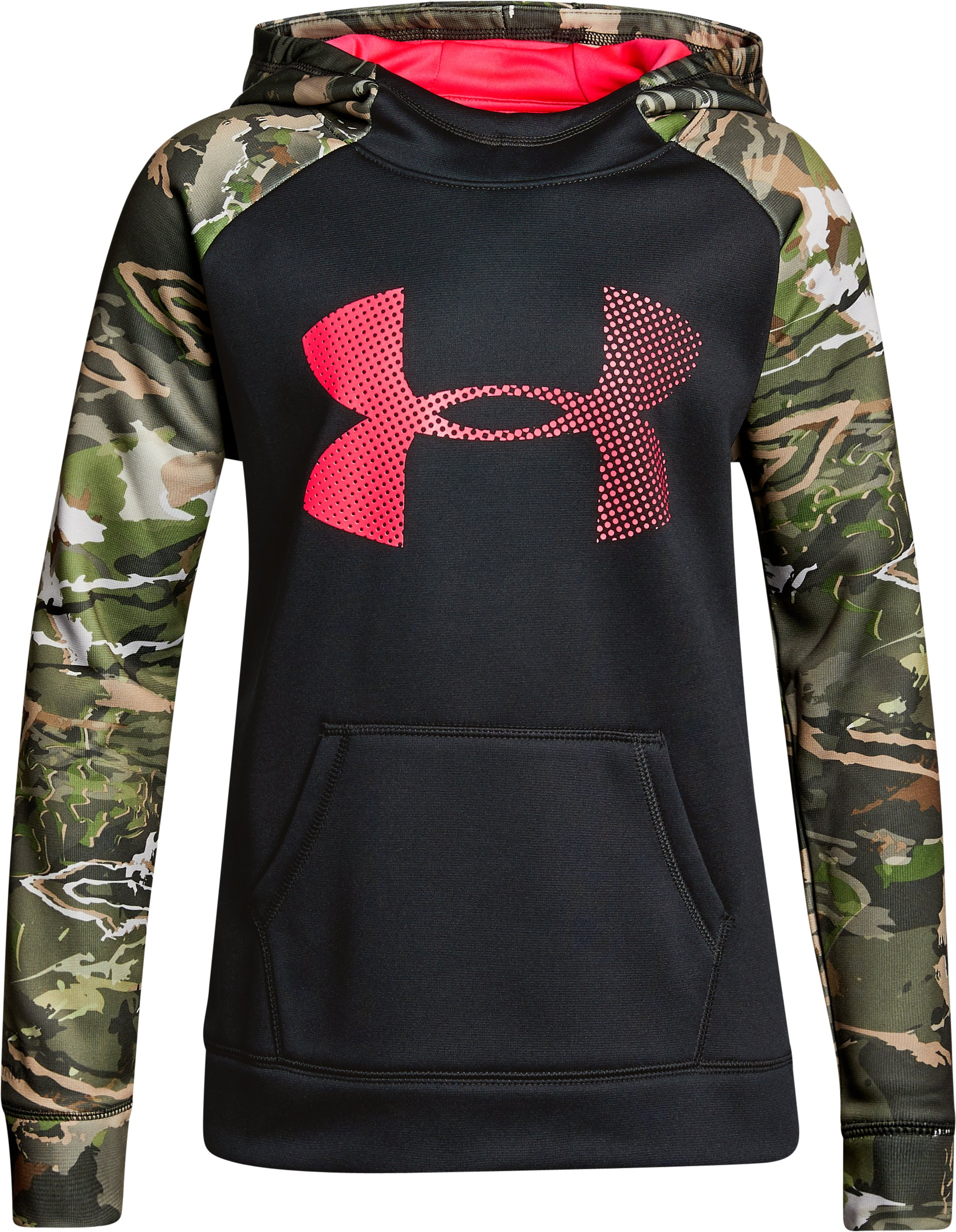 Girls' Armour Fleece® Camo Blocked Hoodie, Black ,