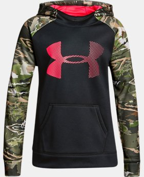 Girls' UA Armour® Fleece Camo Blocked Hoodie LIMITED TIME OFFER 2 Colors $29.99