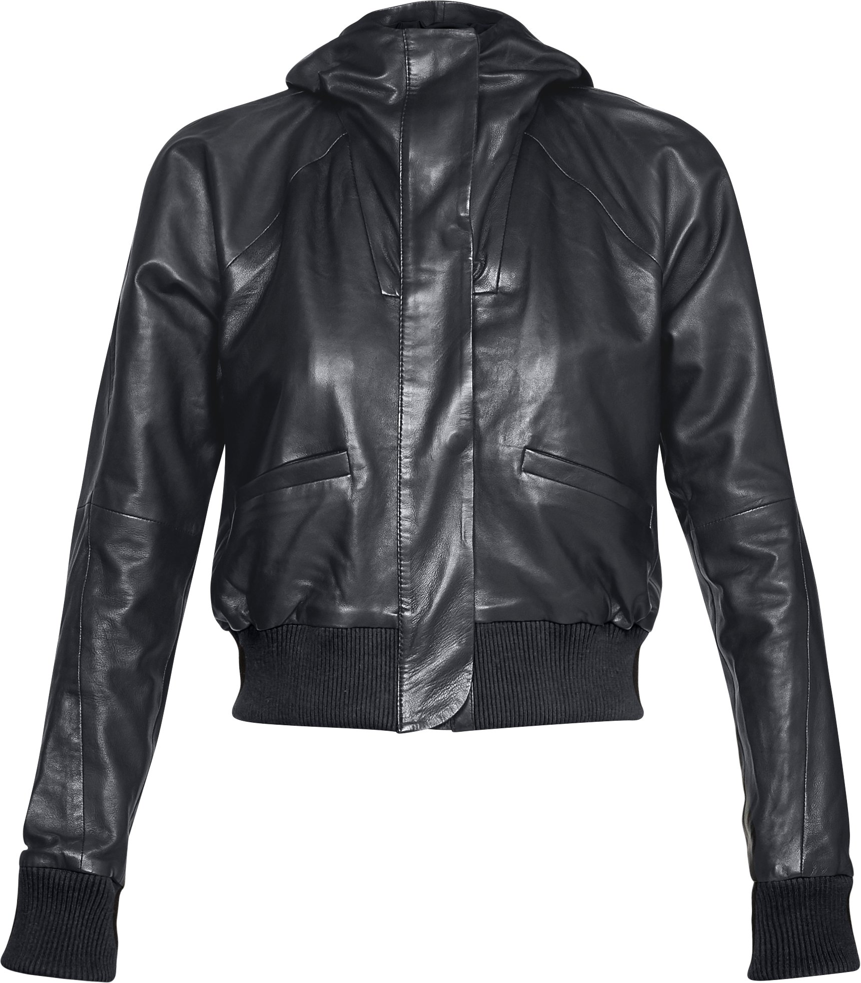 Women's UA Misty Copeland Signature Leather Bomber Jacket, Black ,