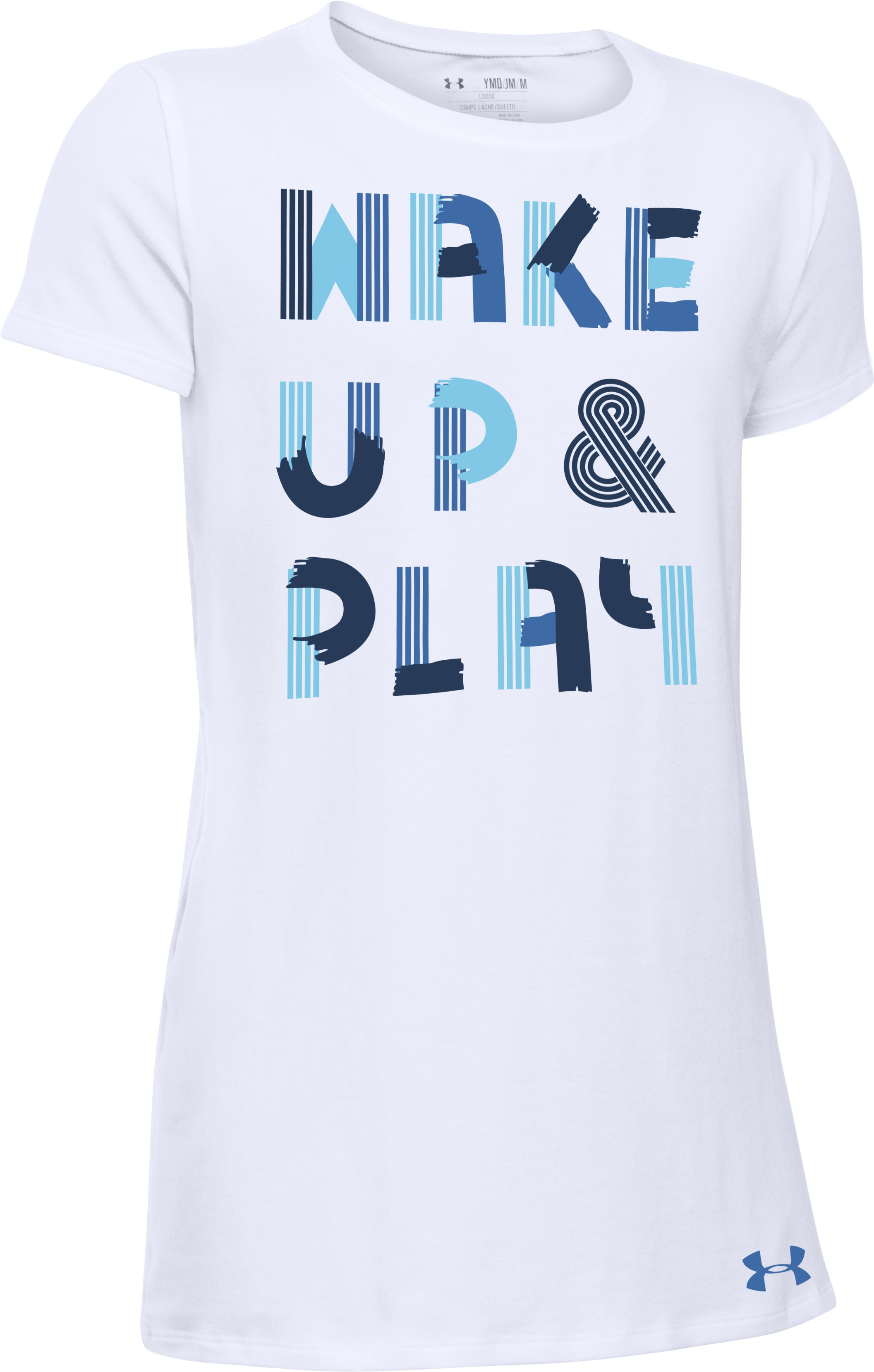 Girls' UA Wake Up & Play T-Shirt, White, zoomed image