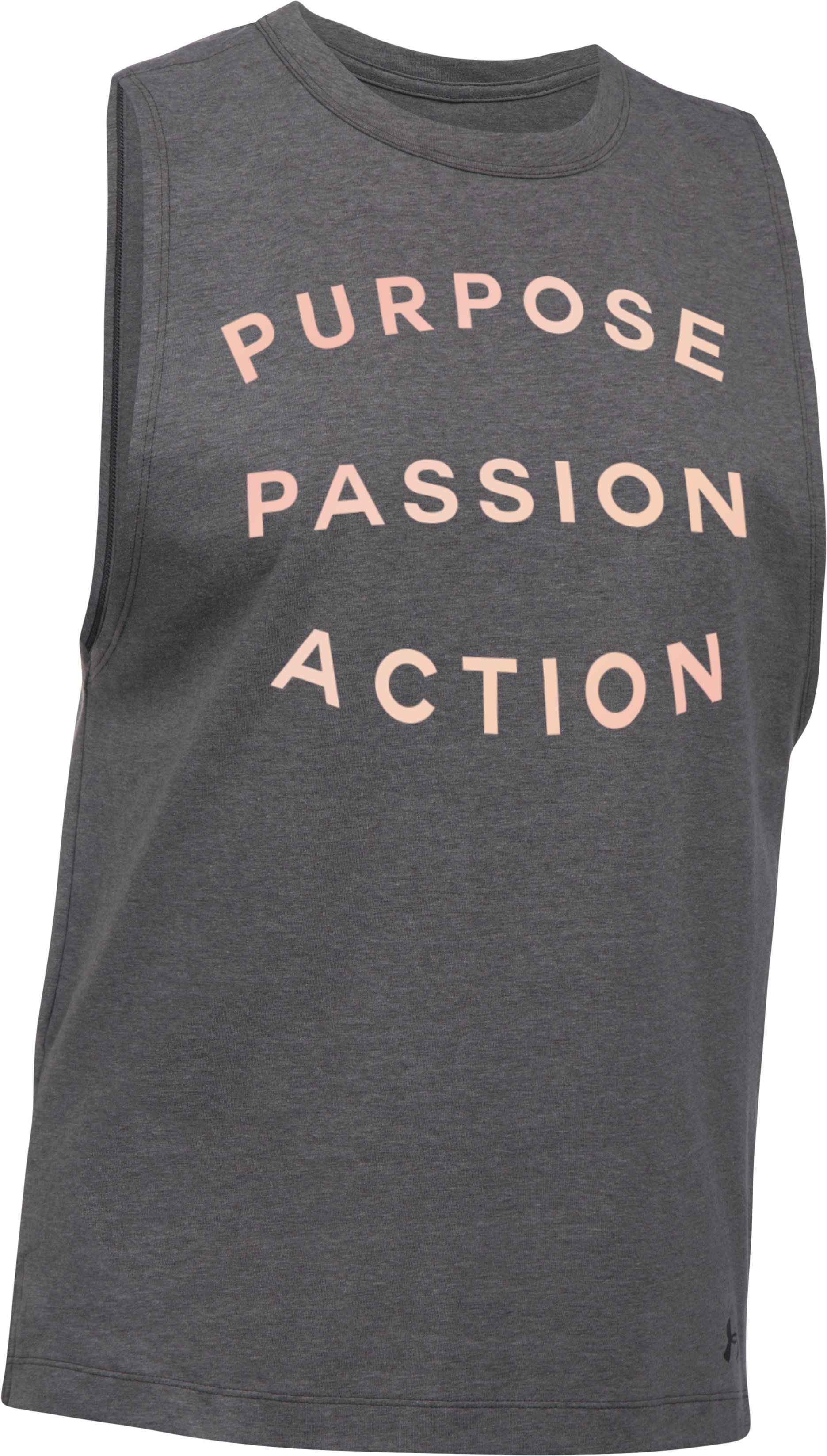 Women's UA Purpose Passion Muscle T, Carbon Heather, undefined