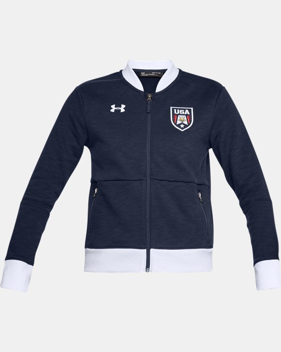 Women's UA Stars & Stripes Bomber Jacket, Navy, pdpMainDesktop image number 3