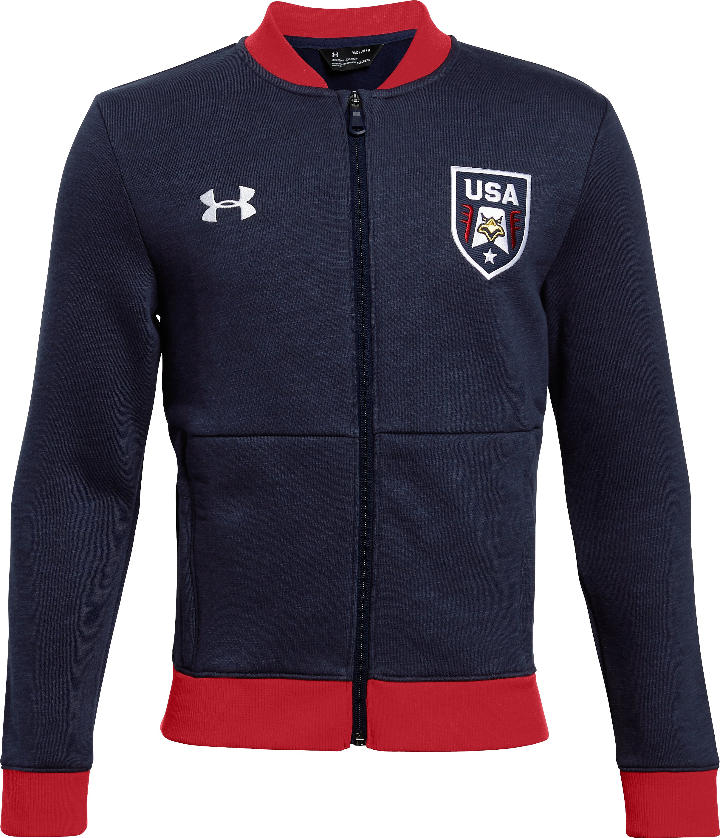 bomber jackets Boys' UA Stars & Stripes Bomber Jacket Great looking jacket...its a beautiful and comfortable Jacket!...I recommend these for mild cold weather.