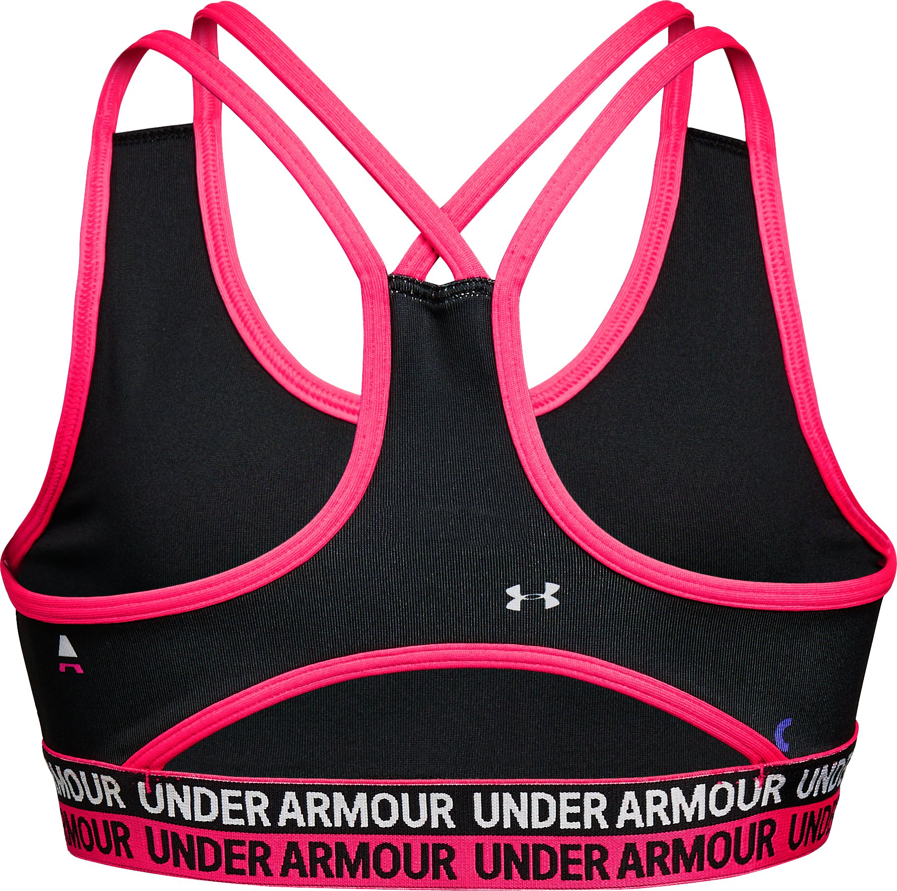 Girls' HeatGear® Armour Printed Bra, Black , undefined