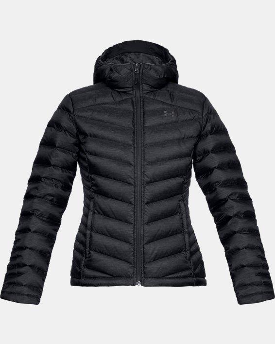 Women's UA Iso Down Hooded Jacket, Black, pdpMainDesktop image number 3