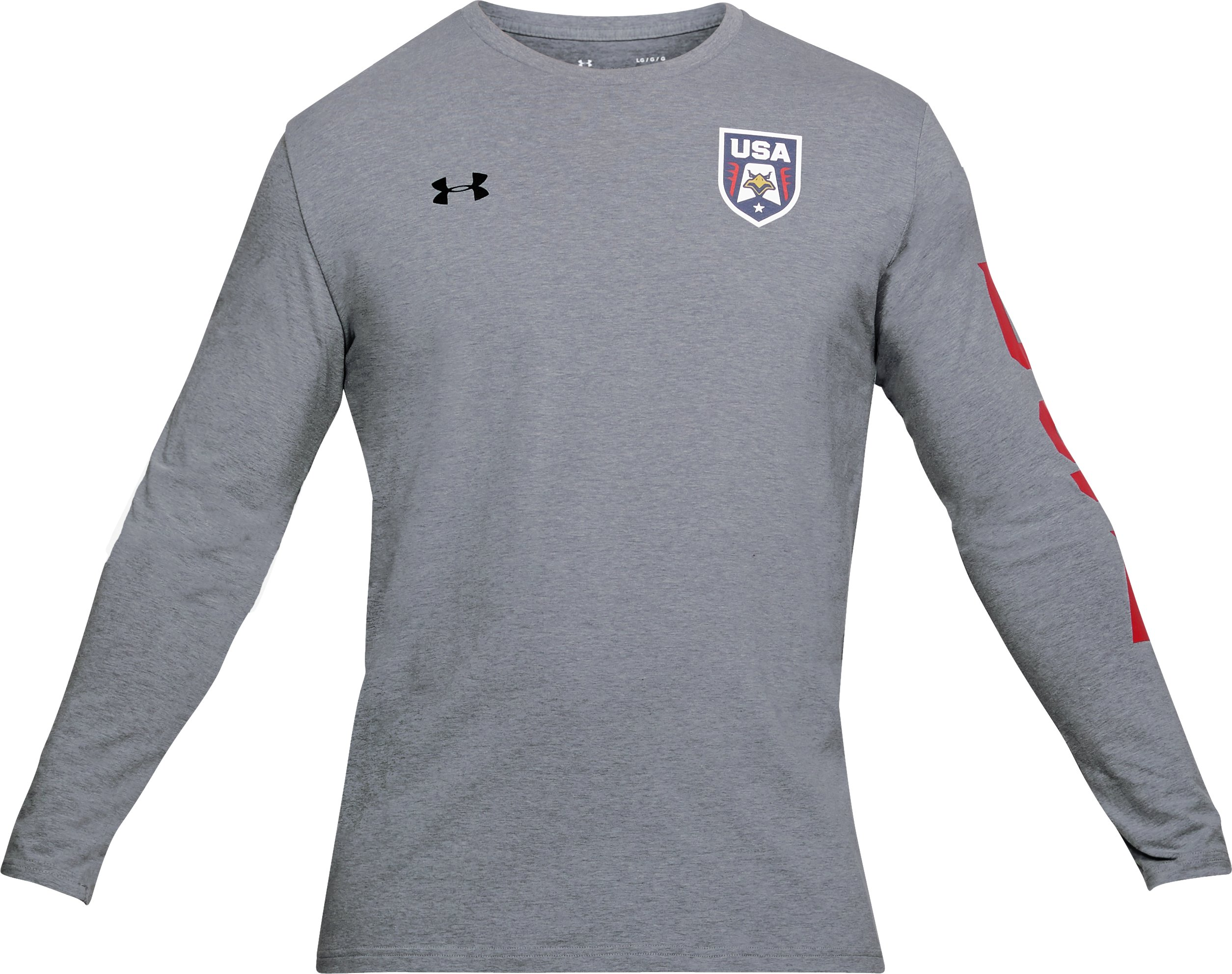 Men's UA Stars & Stripes Patriot Long Sleeve, STEEL LIGHT HEATHER,