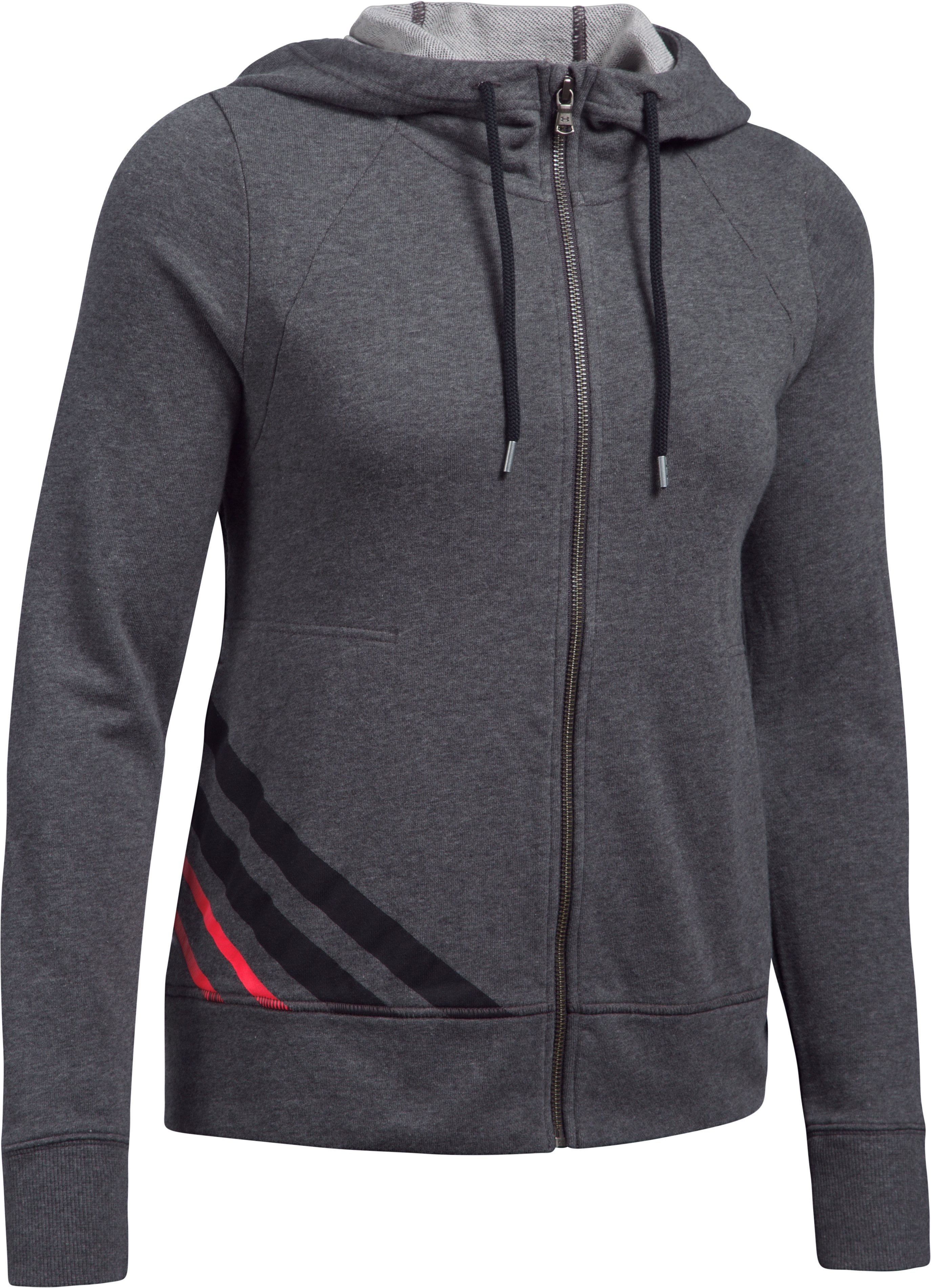Women's UA French Terry Full Zip Hoodie, Carbon Heather, undefined