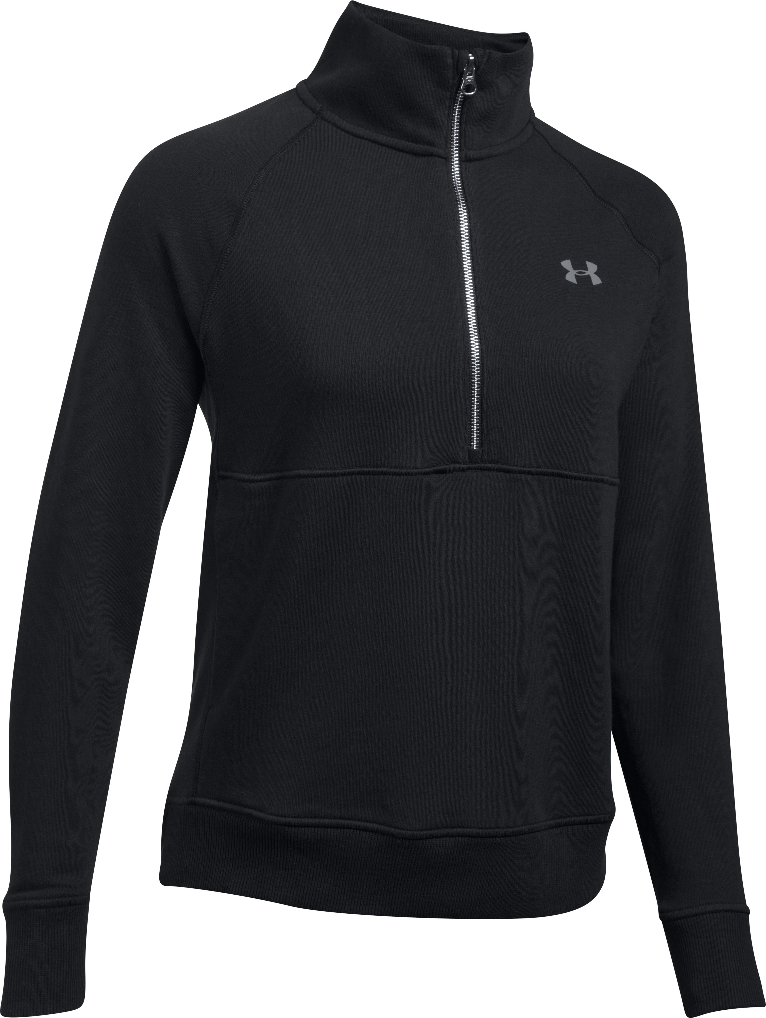 Women's UA French Terry ½ Zip Sweatshirt, Black ,