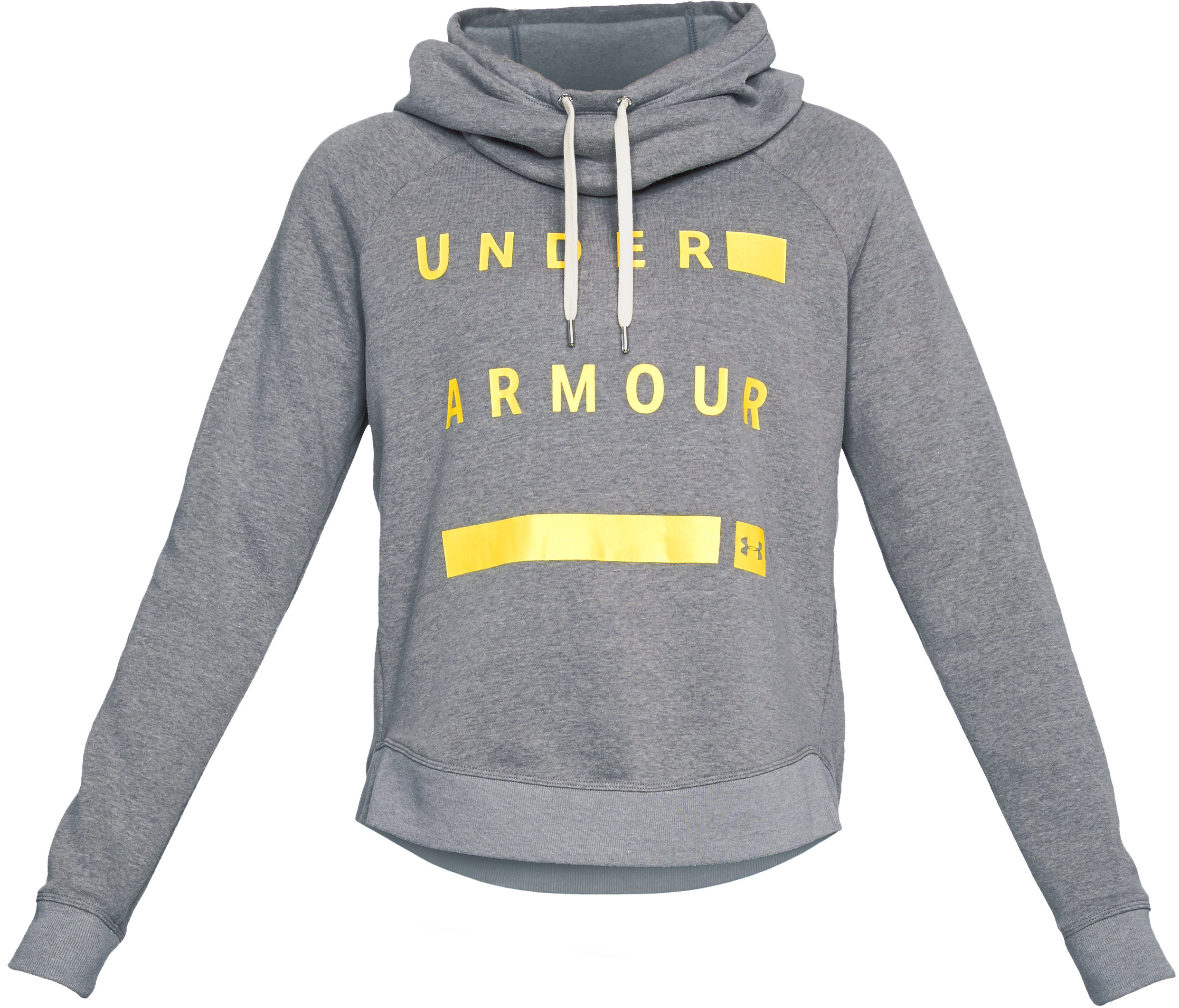 Women's UA Favorite Fleece Pullover Graphic Hoodie, STEEL LIGHT HEATHER,
