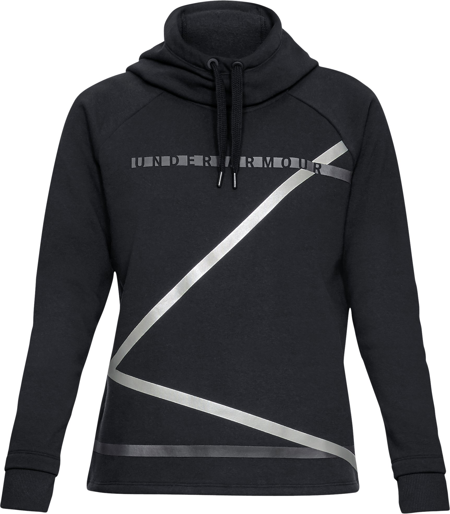 Women's UA Microthread Fleece Hoodie, Black ,