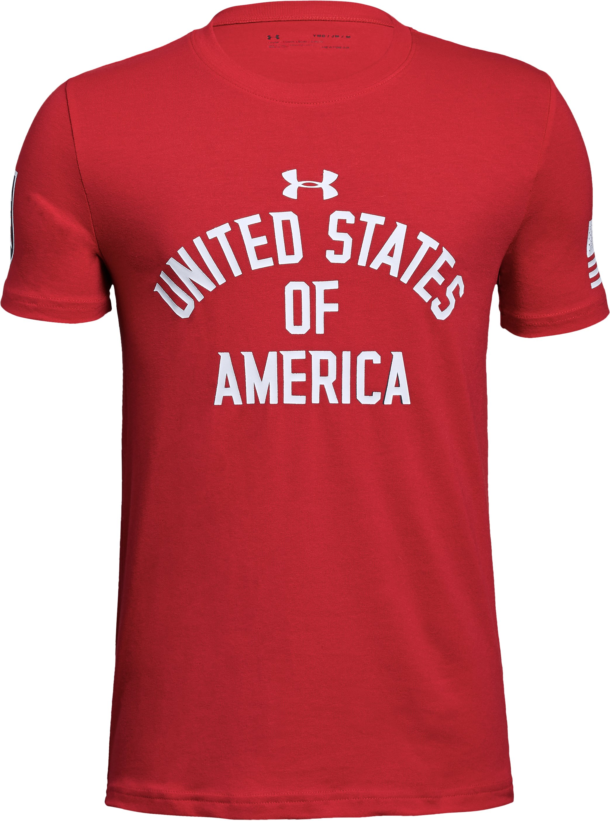 Boys' UA Stars & Stripes T-Shirt, Red, zoomed