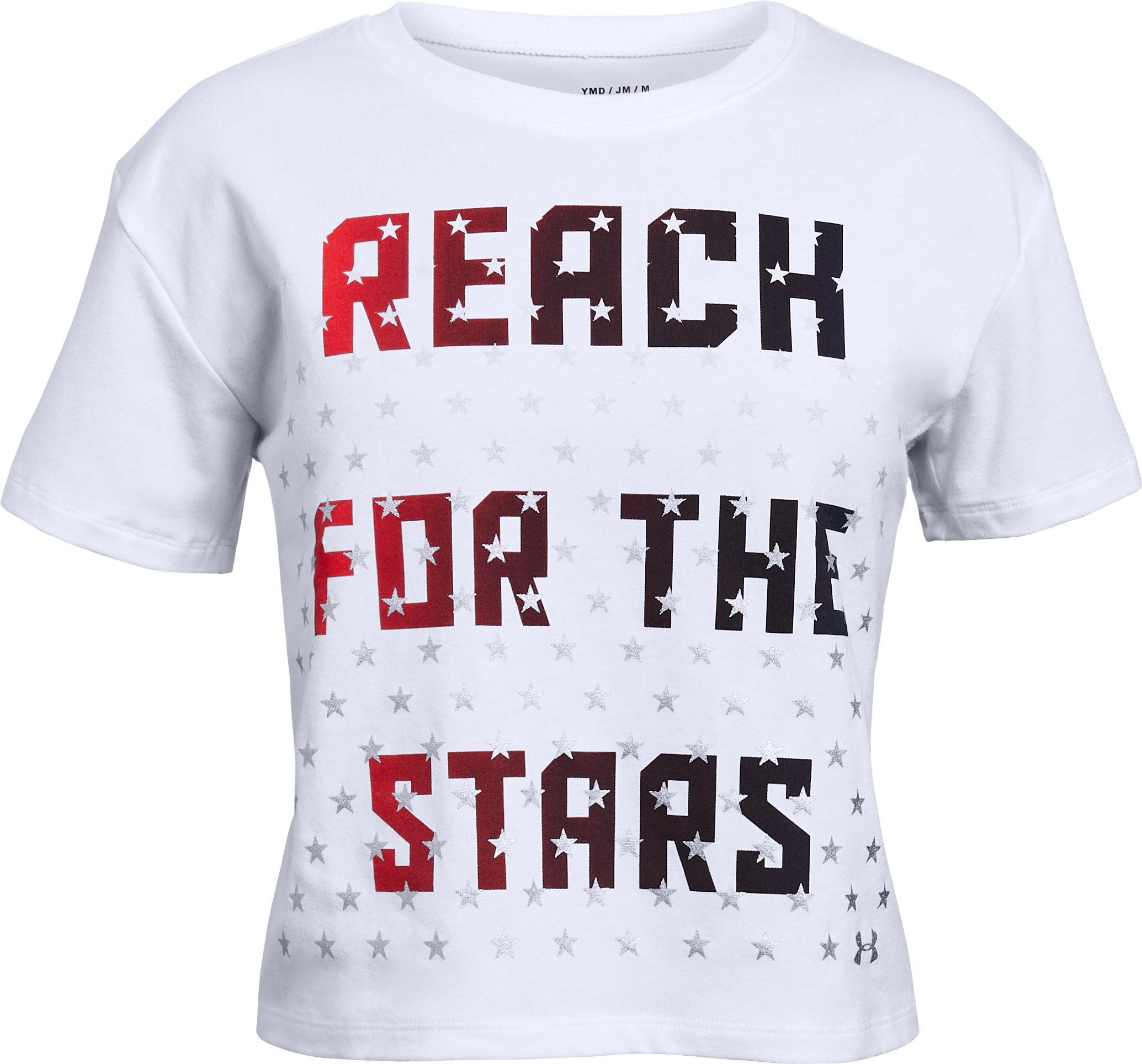 stars tshirts Girls' UA USA Reach Stars T-Shirt Nice shirt!!...I purchase this T-shirt for my granddaughter it fit more like a crop top T-shirt but it she loved it so comfortable I thought was my little small , per se but girls these days like that stuff...Really Comfortable