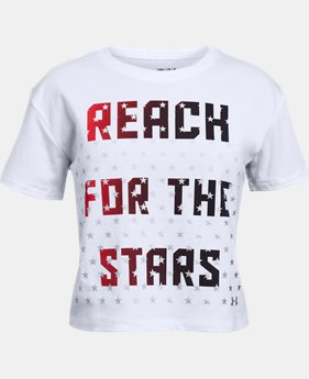 Girls' UA USA Reach Stars T-Shirt  1  Color Available $19.99