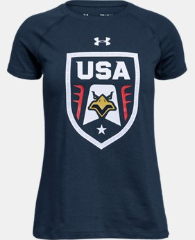 Girls' UA Stars & Stripes Eagle T-Shirt  1  Color Available $19.99
