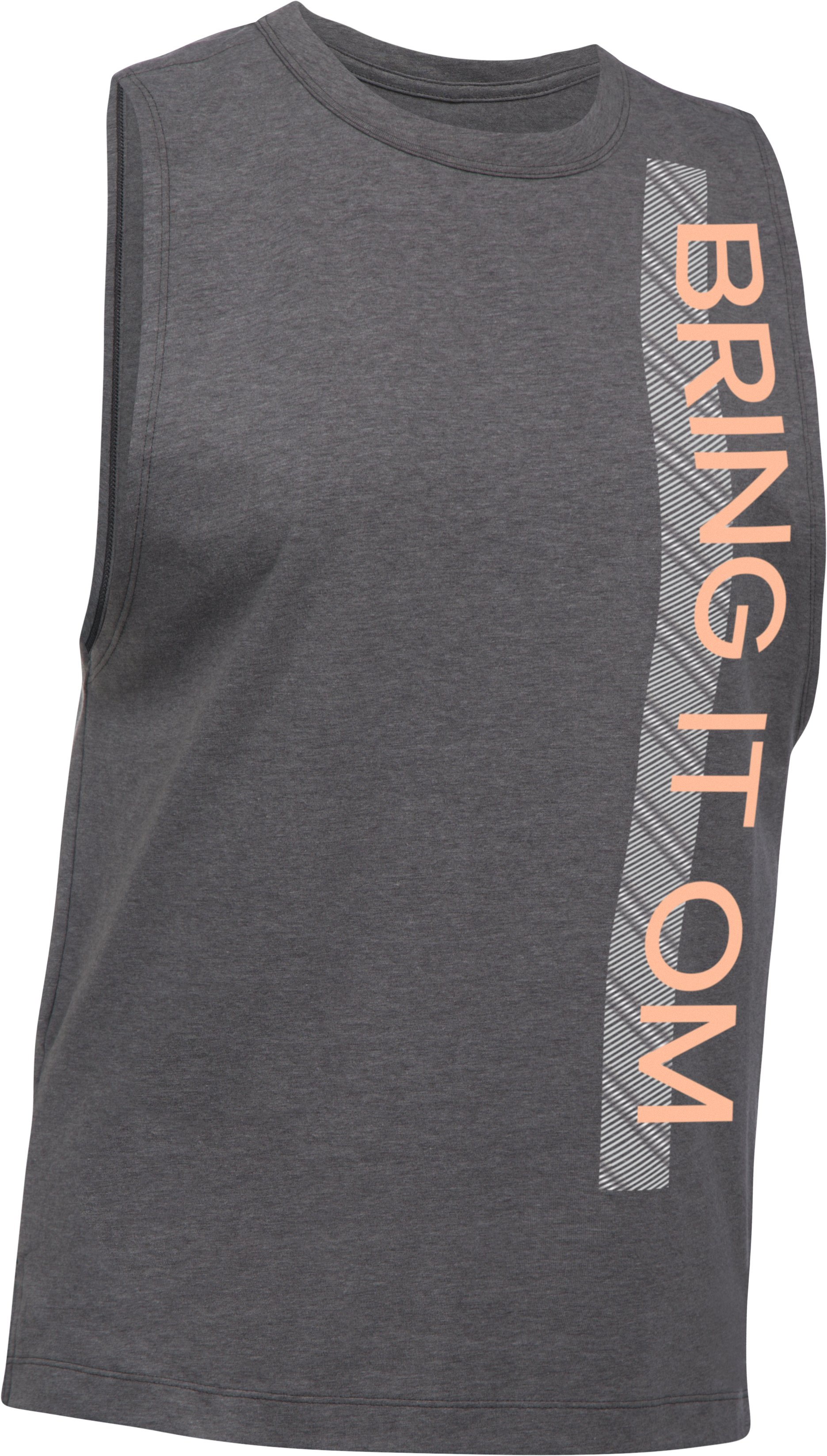 Women's UA Bring It Om Muscle T, Carbon Heather, undefined