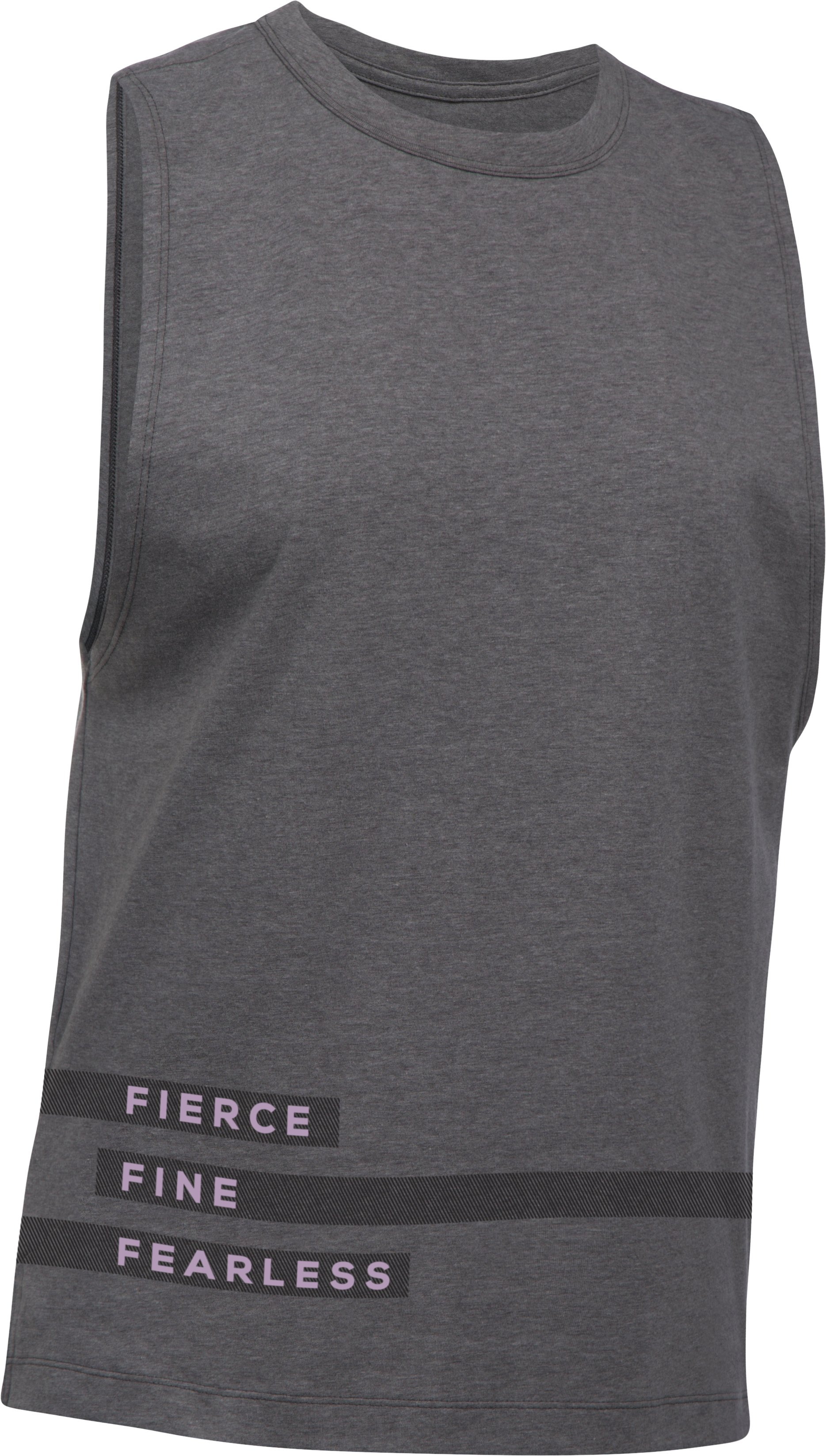 Women's UA Fierce Fearless Muscle T, Carbon Heather,