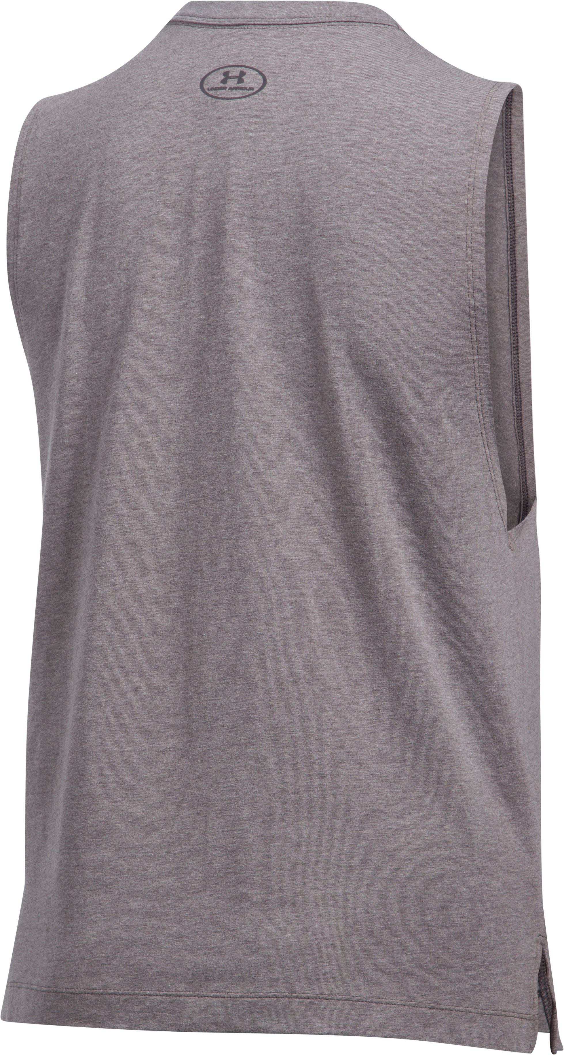 Women's UA Stacked Wordmark Muscle T, Carbon Heather,