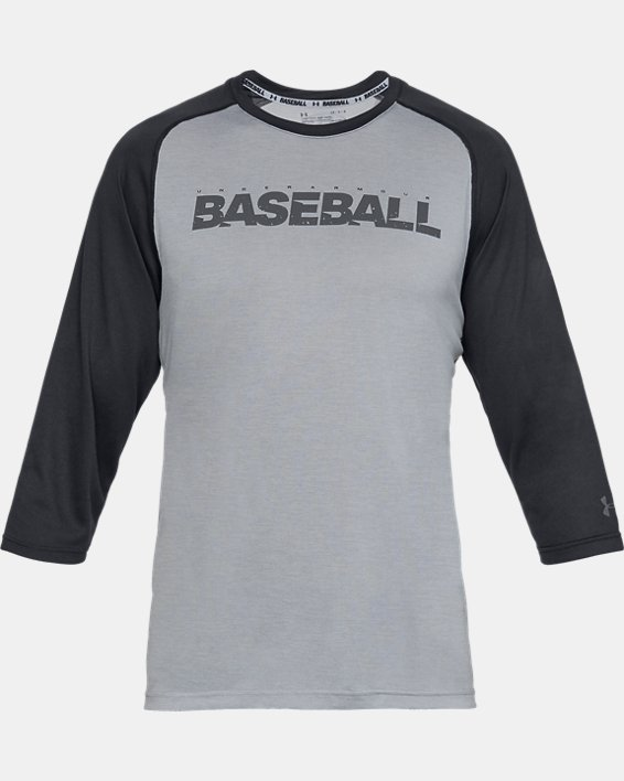 Men's UA Bullpen ¾ Shirt, Gray, pdpMainDesktop image number 3