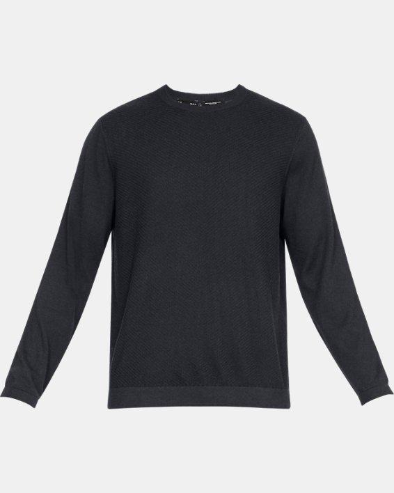 Men's UA Threadborne Crew Sweater, Black, pdpMainDesktop image number 4