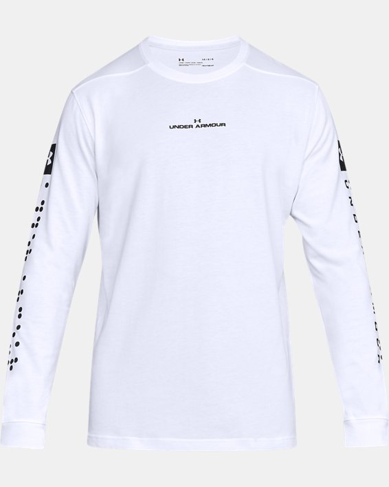 Men's UA Pursuit Long Sleeve, White, pdpMainDesktop image number 4