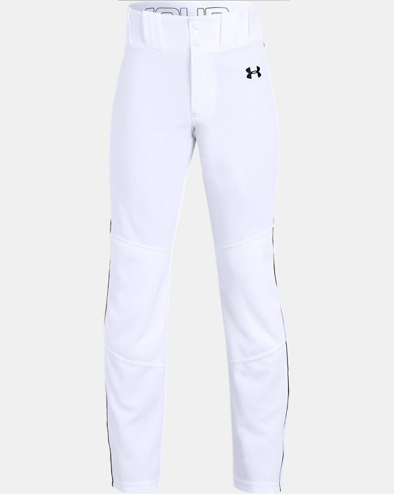 Boys' UA Utility Relaxed Piped Baseball Pants, White, pdpMainDesktop image number 0