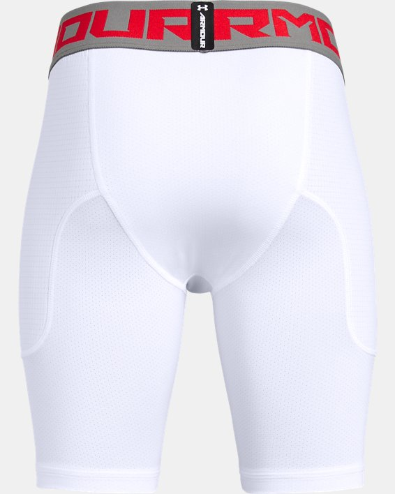 Boys' UA Utility Slider w/ Cup Shorts, White, pdpMainDesktop image number 1