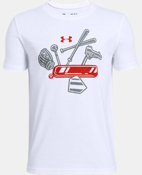 New Arrival Boys' UA 5 Tool Army Short Sleeve T-Shirt   1  Color Available $20