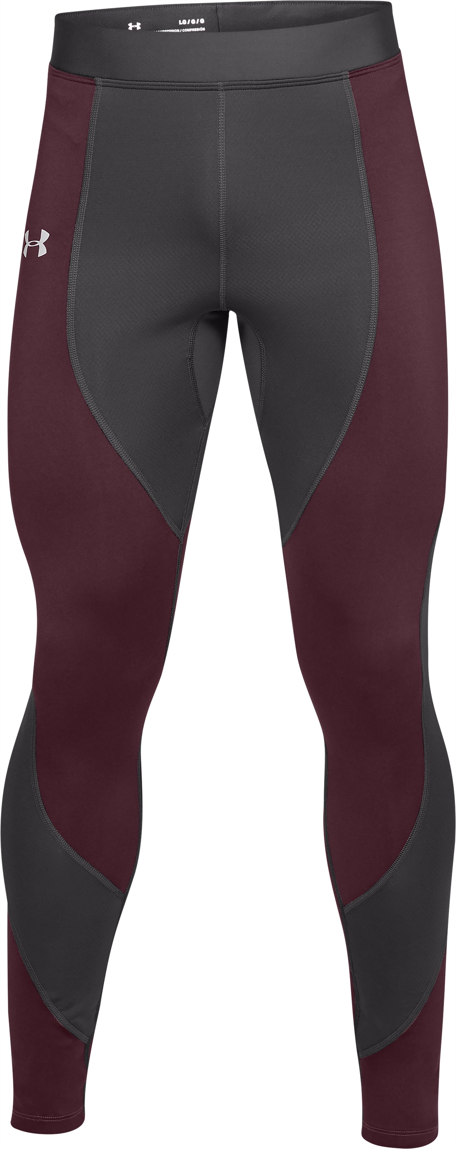 Men's ColdGear® Reactor Run Tights, Charcoal,