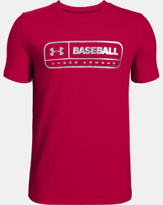Boys' UA LockerTag Short Sleeve T-Shirt, Red, pdpMainDesktop image number 0