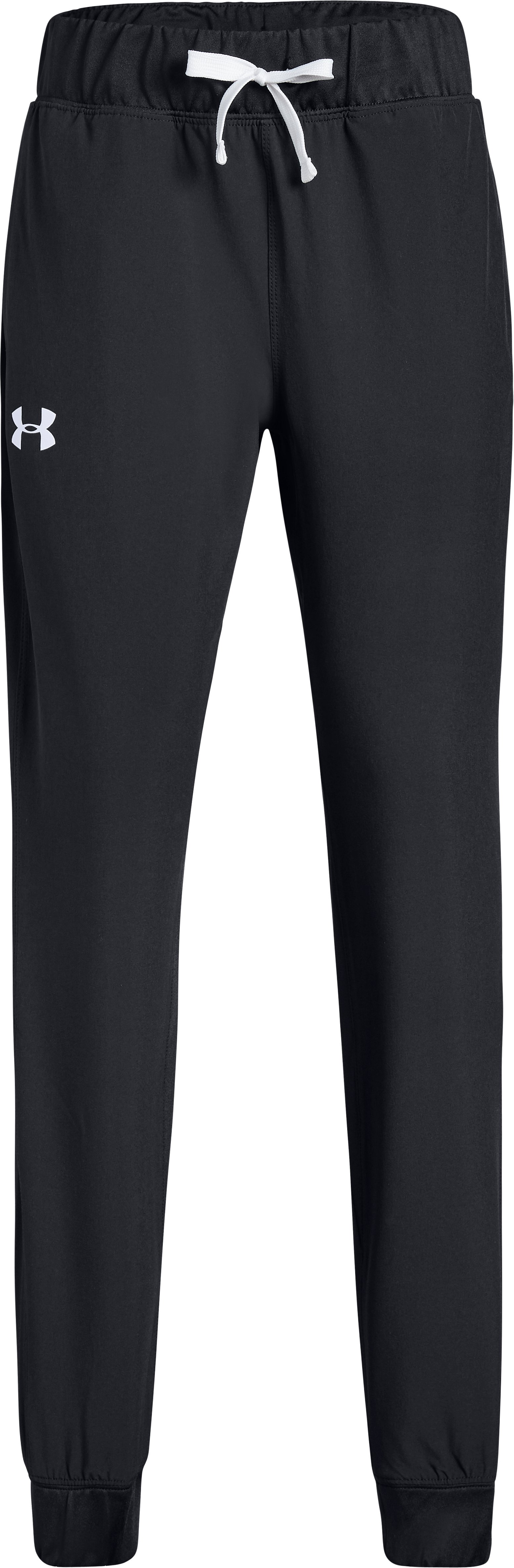 Girls' UA Woven Warm Up Pants, Black