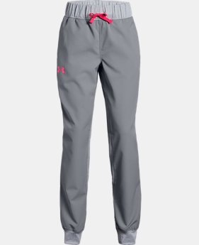 Girls' UA Woven Warm Up Pants  2  Colors Available $40