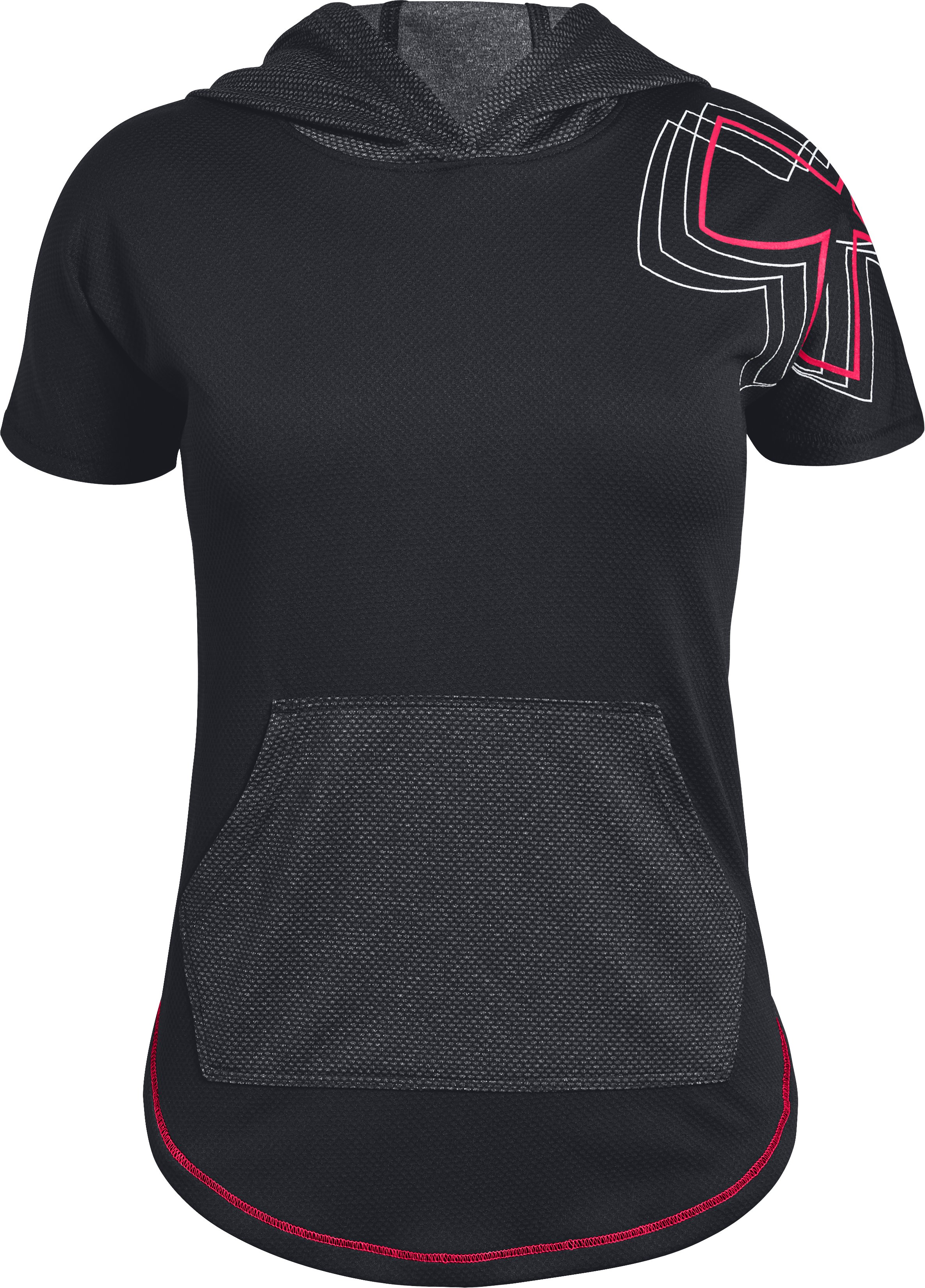 Girls' UA Tech™ Short Sleeve Hoodie, Black ,