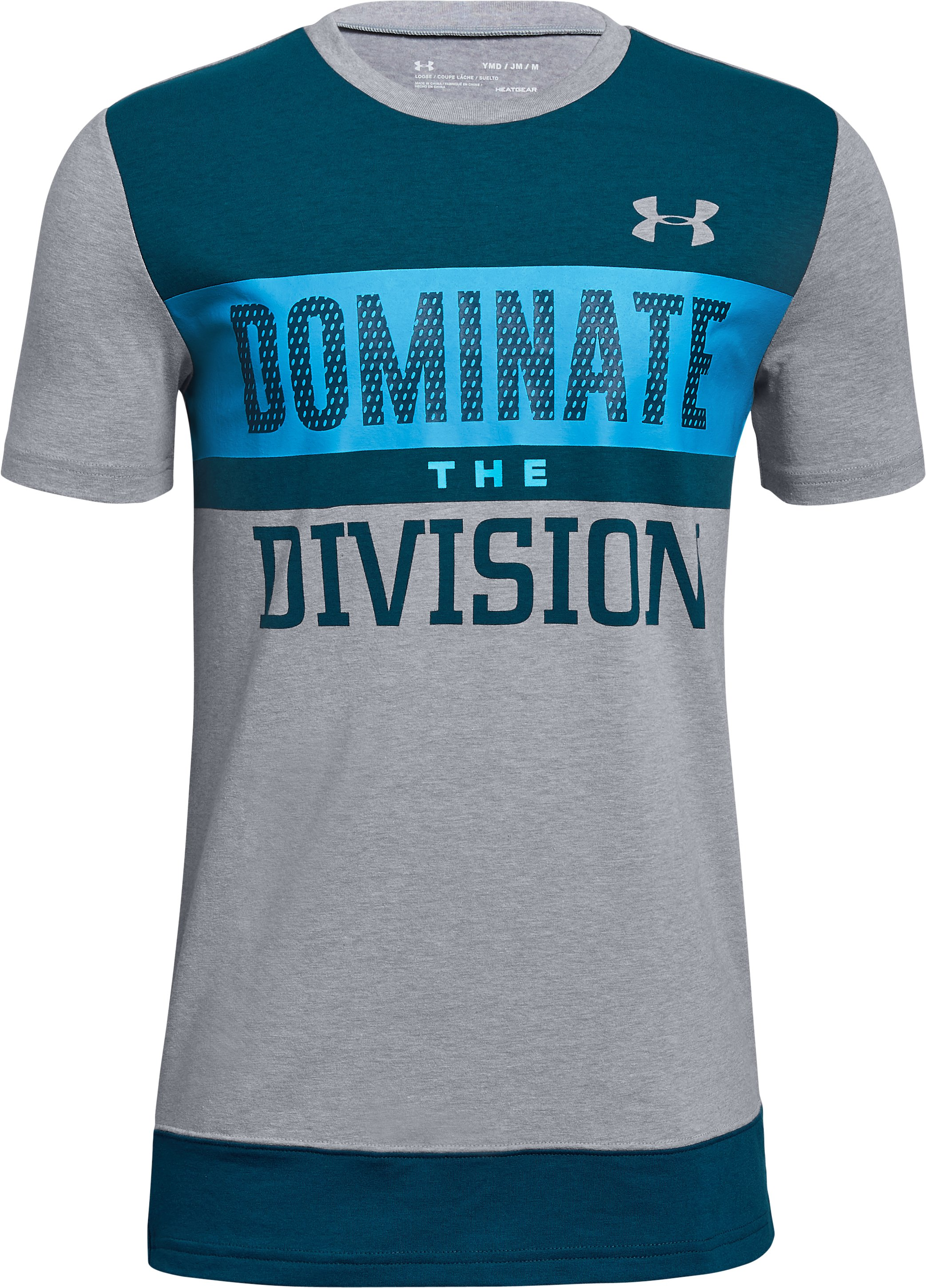 Boys' UA Dominate The Division Short Sleeve T-Shirt, STEEL LIGHT HEATHER