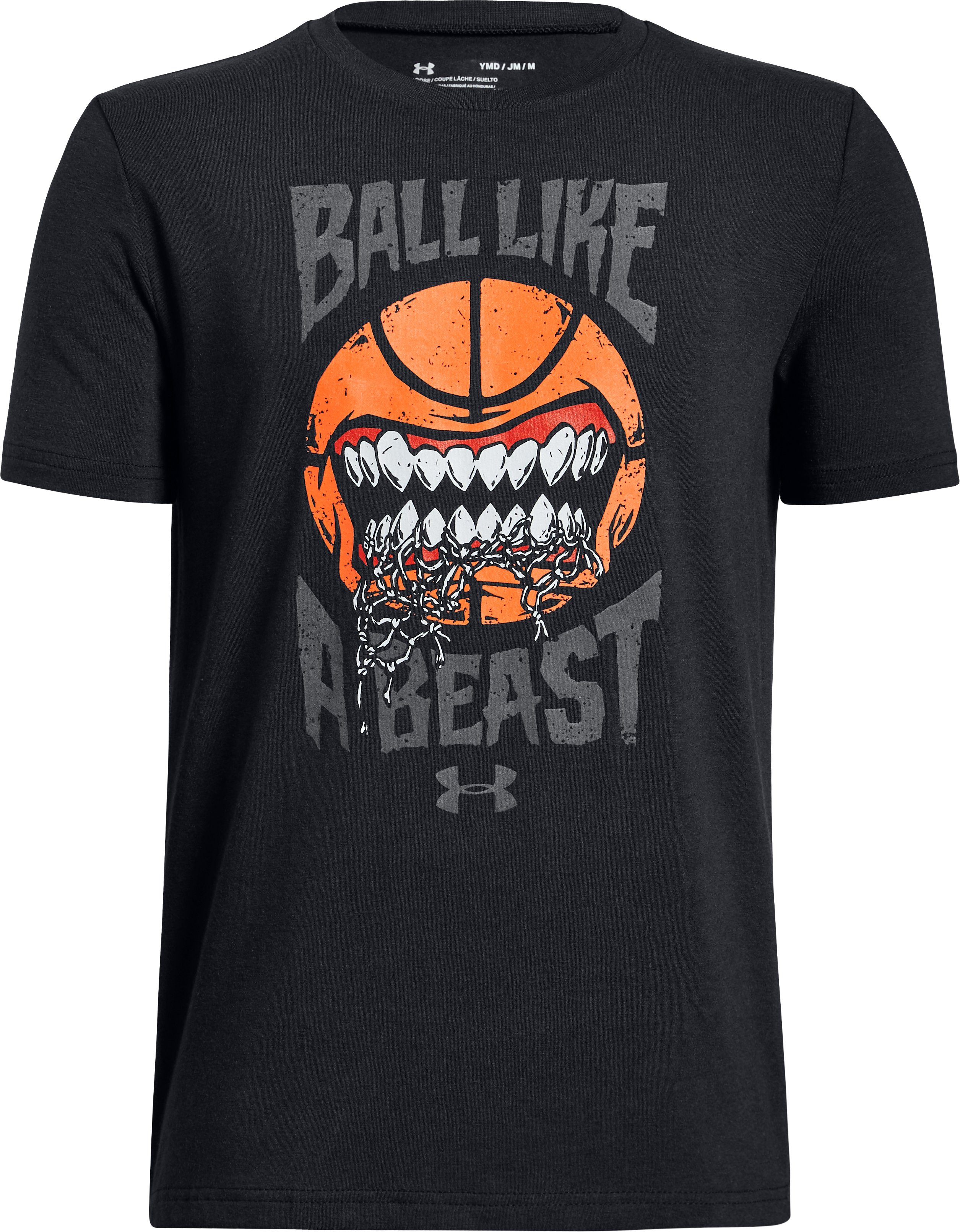 Boys' UA Ball Like A Beast Short Sleeve T-Shirt, Black ,
