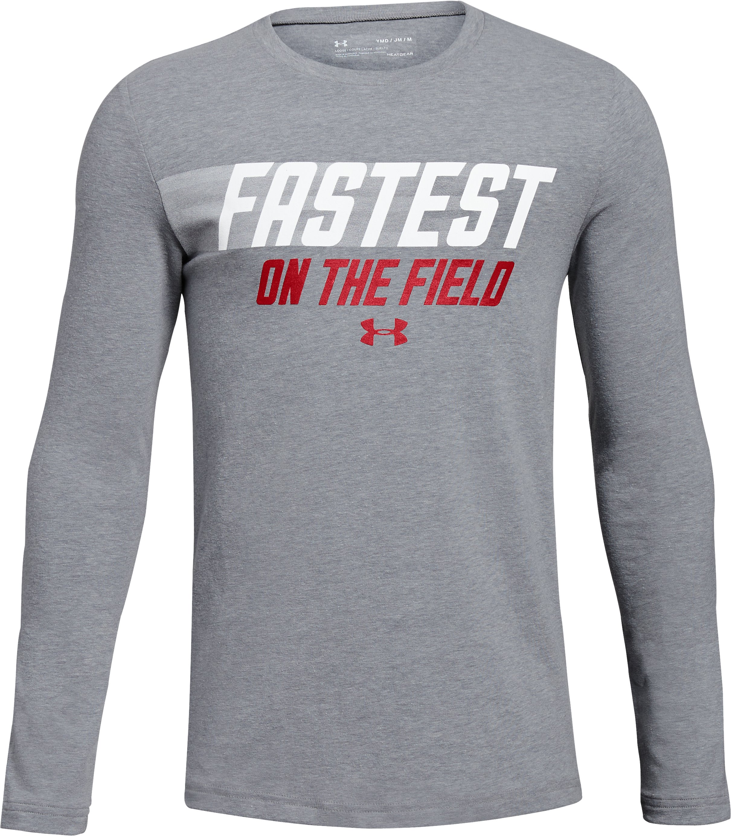 Boys' UA Fastest On The Field Long Sleeve T-Shirt, STEEL LIGHT HEATHER,