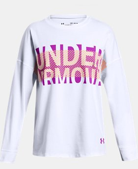 Girls' UA Overlay Branded Long Sleeve T-Shirt  3  Colors Available $25