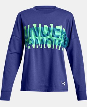Girls' UA Overlay Branded Long Sleeve T-Shirt  2  Colors Available $30