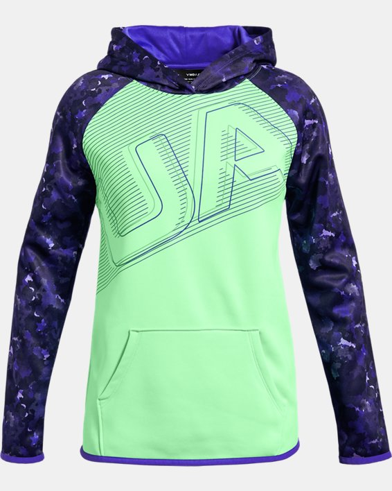 Girls' Armour Fleece® Big Logo Hoodie, Green, pdpMainDesktop image number 0