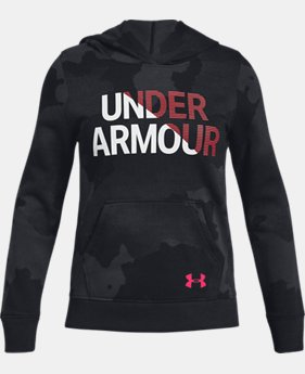 New Arrival Girls' UA Rival Fleece Wordmark Hoodie FREE U.S. SHIPPING  $45