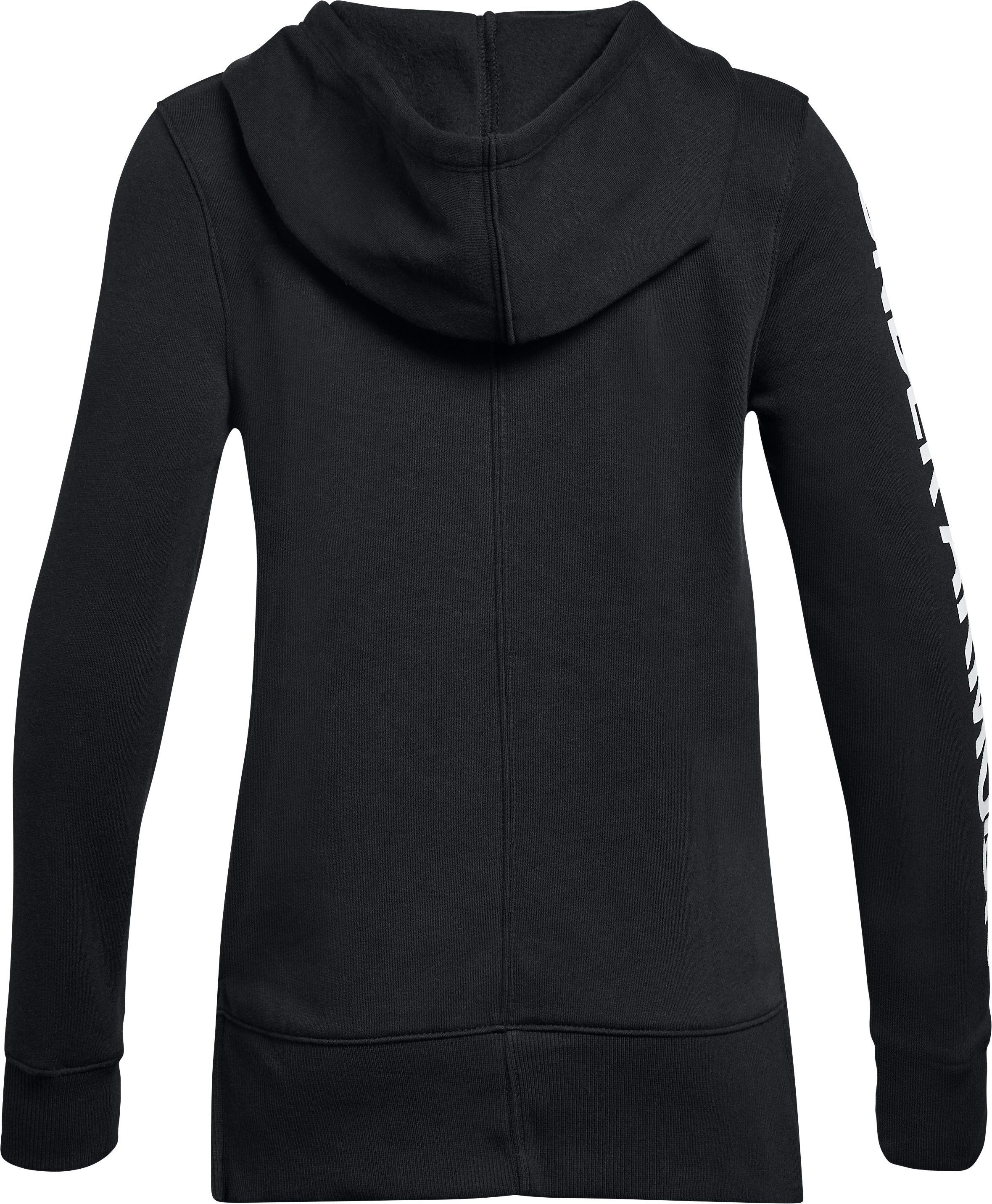 Girls' UA Rival Fleece Full Zip Hoodie, Black ,