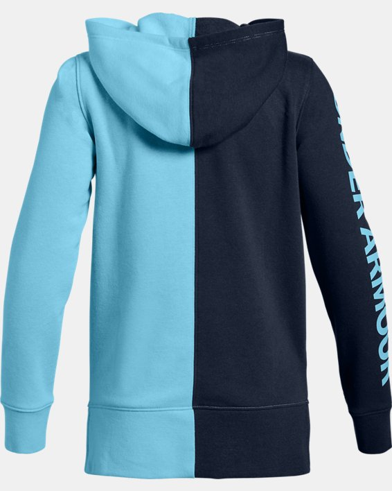 Girls' UA Rival Fleece Full Zip Hoodie, Navy, pdpMainDesktop image number 1